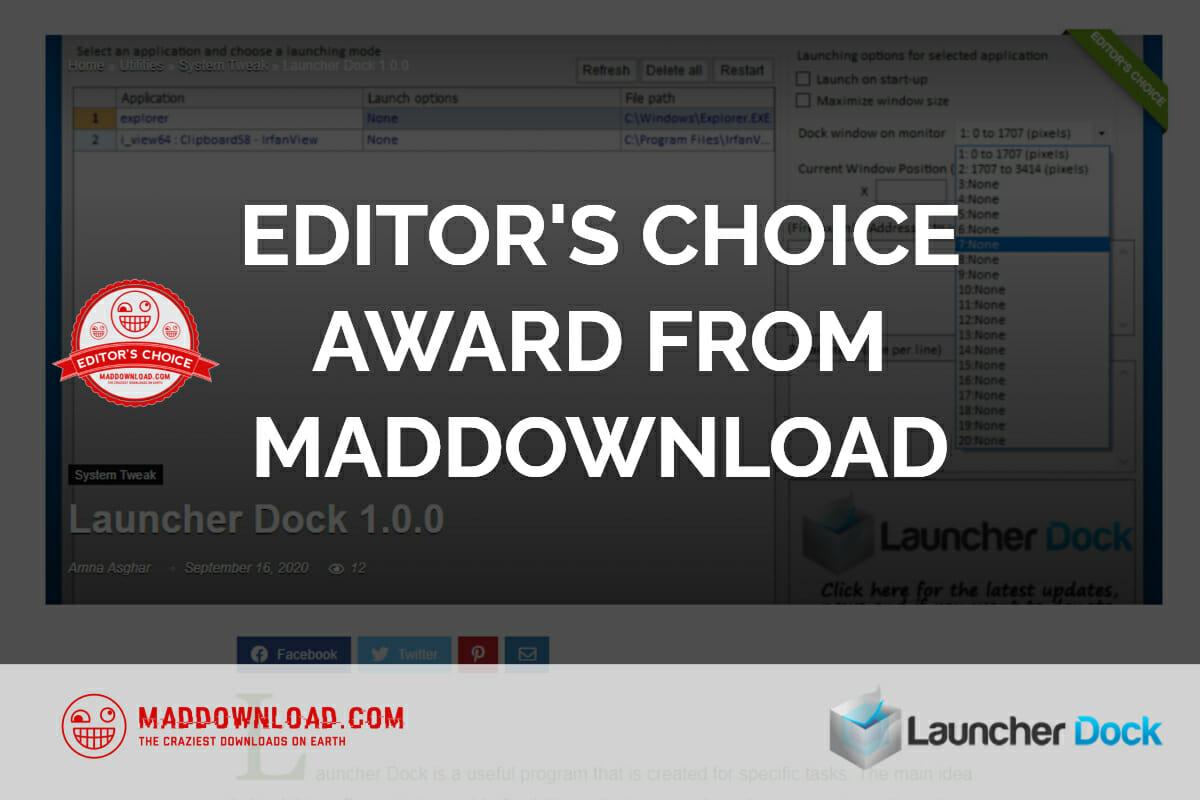 EDITOR'S CHOICE AWARD FROM MADDOWNLOAD